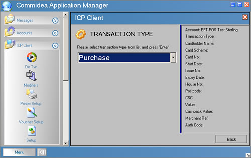icp client - choose transaction type