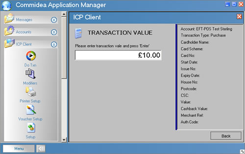 icp client - card transaction value
